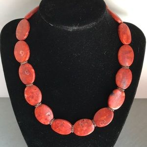 Sponge coral, sterling silver statement necklace